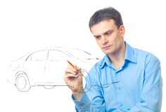 Men drawing a car. Isolated on white background royalty free stock images
