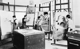 Men at a drawing class Stock Image