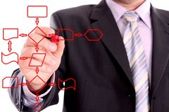 Men drawing a red diagram Royalty Free Stock Images