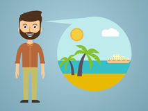 Men dreaming about his vacation vector illustration