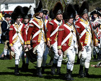 Men Dressed as British Redcoats. As part of a re-enacment of the American Revolutionary War. Lexington Stock Images