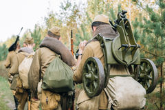 Men Dressed As Russian Soviet Red Army Infantry Soldiers Of World War II Royalty Free Stock Image