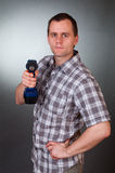 Men with drill Royalty Free Stock Image