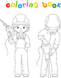 Men with drill and jackhammer. Coloring book Stock Photo