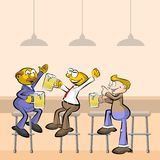 Men drinking beer in the pub Royalty Free Stock Photos