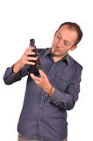 Men is drinking a beer Stock Photography
