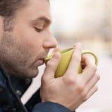 Men drinking coffee. Royalty Free Stock Photo