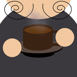 Men is drinking a cup of coffee. Men coffee mocha illustration wallpaper Stock Image