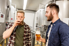 Men drinking and testing craft beer at brewery. Alcohol production, business and people concept - men drinking and testing craft beer at brewery Royalty Free Stock Photos