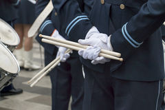 Men with drumsticks Royalty Free Stock Photos