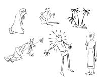 Men-emosion. Sketches on a theme of belief, hope, religion, a pray Royalty Free Stock Photos