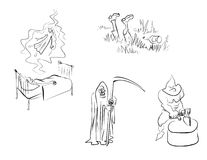 Men-emosion. Sketches of everyday situations: death, execution, an alcoholism. Crime and punishment, death, execution Royalty Free Stock Photo
