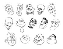 Men-emosion. Physiognomies of smiling different people, men and women Royalty Free Stock Photo