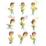 Men Emotions. Vector Set in Flat Stock Photo