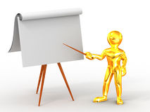 Men with empty board. On white background. 3d stock illustration