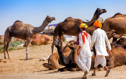 Men in ethnic attire attends the Pushkar fair in Rajasthan, Indi Royalty Free Stock Images