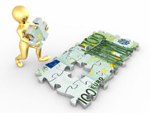 Men with euro from parts of puzzle. 3d stock illustration