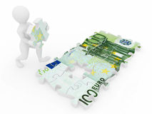 Men with euro from parts of puzzle. 3d royalty free illustration