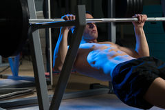 Men Exercising Back On Horizontal Barbell Pull Up Royalty Free Stock Photography