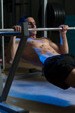 Men Exercising Back On Horizontal Barbell Pull Up Stock Photos