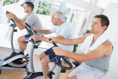 Men exercising on fitness bikes Stock Photo