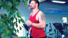 Men exercising and running on treadmill in sport gym. Young athletic men exercising and running on treadmill in sport gym stock video
