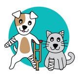Men för den vektorteckenhunden och katten, lägger benen på ryggen brutet på vit bakgrund royaltyfri illustrationer