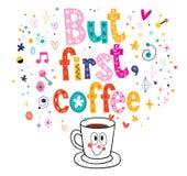 Men första kaffe vektor illustrationer