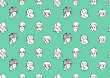 Men Face icon - hand drawn seamless pattern vector illustration for fabric, cloth, package, wall, decoration, furniture, printing vector illustration