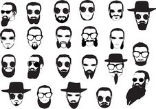 Men faces with beards and glasses Stock Images
