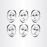 Men faces emotions symbols. Abstract design elements vector illustration