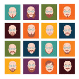 Men faces icons with beard and mustache set Stock Photo