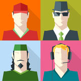 Men Faces Silhouettes Vector icon set Royalty Free Stock Photo