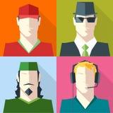 Men Faces Silhouettes Vector icon set Royalty Free Stock Photo