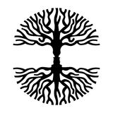 Men faces in tree silhouette optic art symbol. Tree branches shape with opposite human faces silhouette. Concept optic art symbol for psychology, environment Vector Illustration