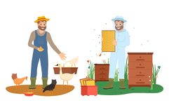 Beekeeper and Farmer Character, Agriculture Vector. Men in farming clothes feeding chicken and goose, holding hives with honey, portrait view of smiling vector illustration