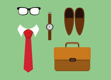 Men fashion casual accessories tie. Vector illustration of flat lay men fashion casual accessories tie,watch,glasses ,shoes and briefcase. eps 10 Stock Image