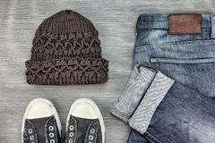 Men Fashion, Casual outfits, Trendy Hipster style outfits. Stock Photo