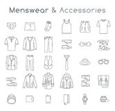 Men fashion clothes and accessories flat line vector icons Royalty Free Stock Photo