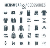 Men fashion clothes and accessories flat outline vector icons Stock Images