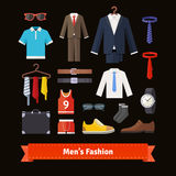 Men fashion colourful flat icon set Royalty Free Stock Images