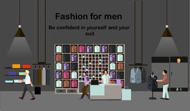 Men fashion concept. People shopping in a mall. Clothes shop Interior. Colorful vector illustration. Banner Royalty Free Stock Images