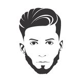 MEN FASHION HAIRSTYLE HAIRCUT WITH BEARD. ILLUSTRATION royalty free illustration