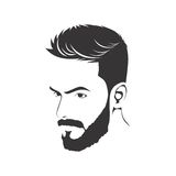 MEN FASHION HAIRSTYLE HAIRCUT WITH BEARD. ILLUSTRATION stock illustration