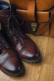 Men fashion. Men accessories. Brown leather shoes, leather men b Royalty Free Stock Photo
