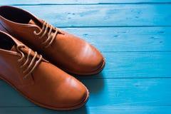 Men fashion shoe on wooden floor.  Stock Image