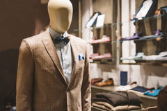 Men fashion store. Men clothes in a fashion store Royalty Free Stock Image