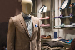 Men fashion store. Men clothes in a fashion store Royalty Free Stock Photo