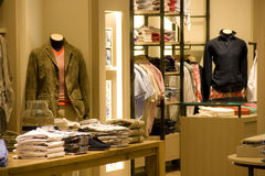 Men clothing fashion store interiors Royalty Free Stock Image