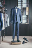 Men fashion suit displaying on mannequin Stock Photos